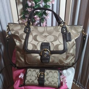 Large Coach Signature Sateen Purse and Matching Wa